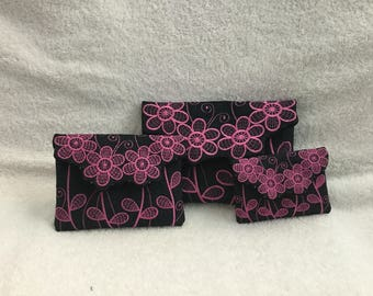 Pink Flower Nesting Clutch Purses