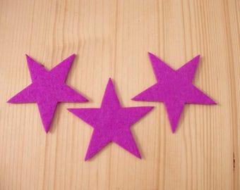 set of 3 small felt #1 stars