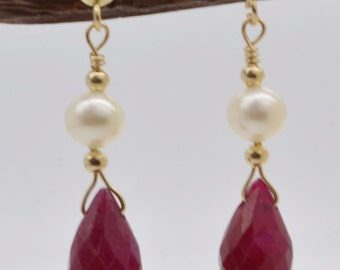 BE-107 14K Solid Gold Natural Ruby's with Cultured Pearl Drop Earrings