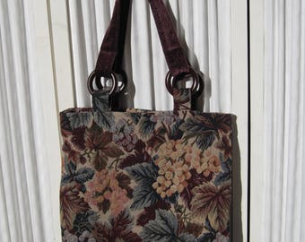 Book Bag Market Bag Tote Bag in Vintage Grape Themed Tapestry Fabric