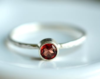tiny garnet ring - custom sized stacking ring - textured delicate band - sterling silver