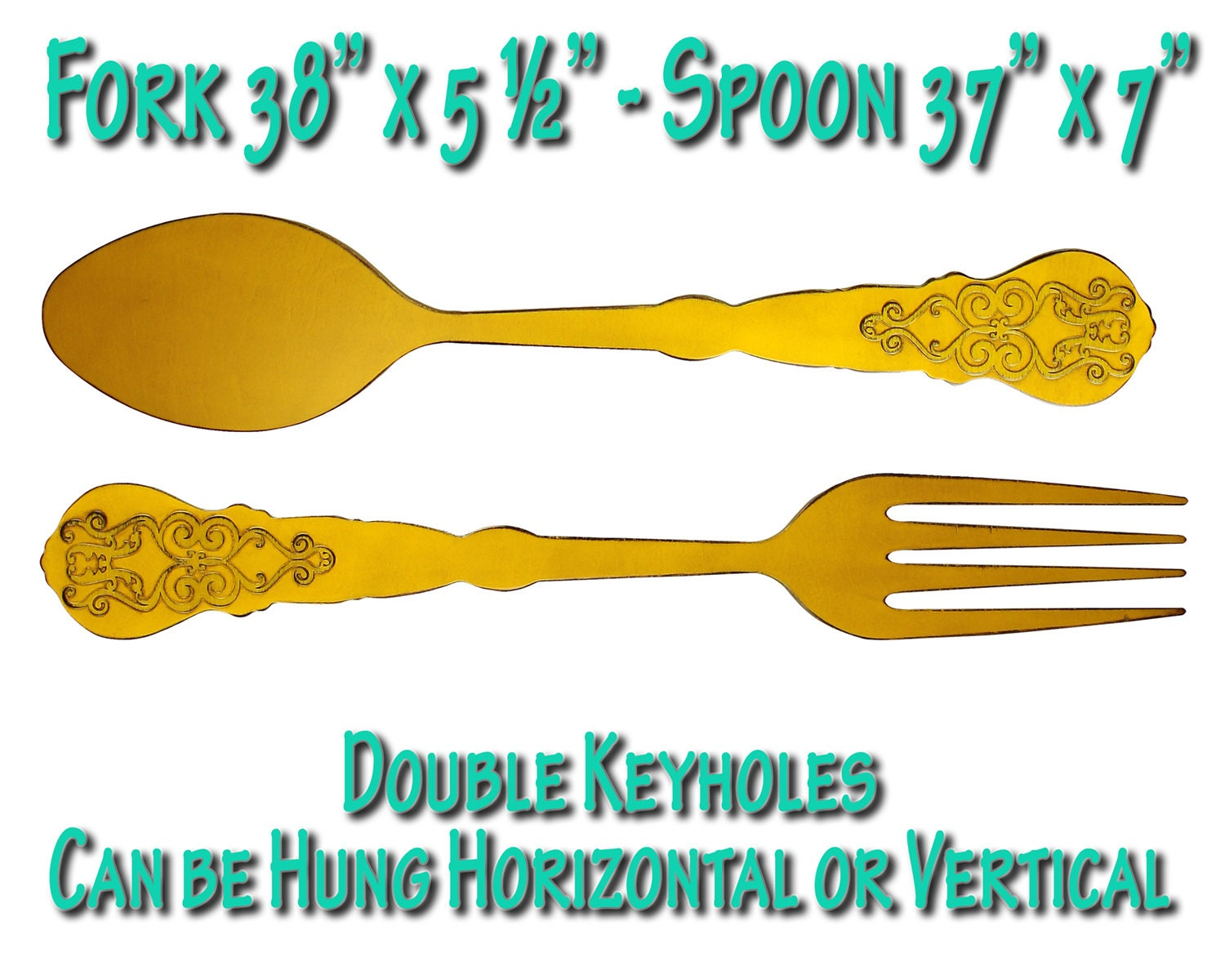 Fork and Spoon Wall Decor Large Fork Spoon Filigree Spoon Fork
