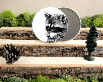 "Raccoon Pocket Mirror - Animal Pocket Mirror 3.5"" - Make up Bag - Make Up Mirror - Coon Racoon Bandit - Gift under 10"