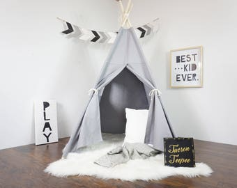 Grey teepee, kids Teepee, tipi, Play tent, wigwam or playhouse with canvas and Overlapping front doors