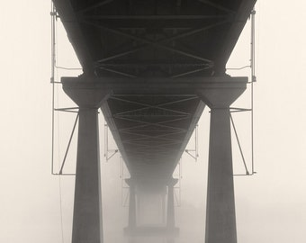 black and white photography, architecture photography, industrial photography, bridge photography, bridges, fog photography