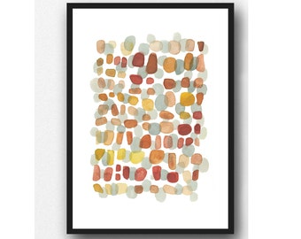 Modern art, abstract watercolor painting brown orange dots, Autumn Path watercolor Print