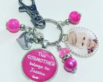 Personalised godmother keyring, personalised godmother keychain, Godmother photo gift, godmother photo keyring, gift for godmother