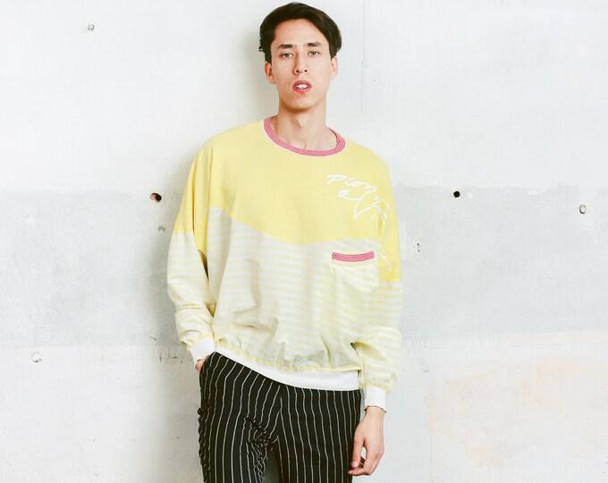 Yellow 90s Sweatshirt . Vintage Printed Sweater Men's Sweater Activewear Rave Party Top Boyfriend Sweatshirt . size Large L