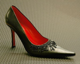 Martini Osvaldo. Gorgeous and very well made black leather high heel pumps