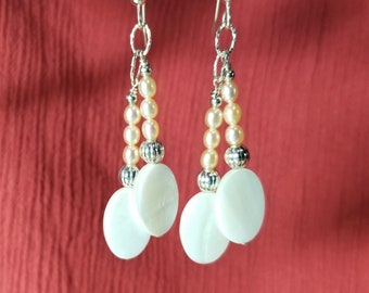 Pearl and Mother-of-Pearl Silver Dangle Earrings-Free Shipping