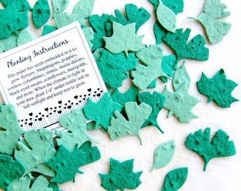 100 Seed Paper Confetti Leaves - Plantable Leaf Confetti - Flower Seed Paper Leaves - Green Confetti Leaves - Ginkgo Leaf