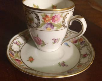 Golden Crown E&R Shumann Empress Dresden Flowers Textured Coffee cup and Saucer Bavarian bone china