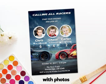 Personalized Cars 3 Group Birthday Celebration Photo Card Lightning Mcqueen Jackson Storm Race Party Invitation DIY Printable - Digital File