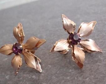 Orchid Earrings Layered Purple Rhinestone B.N. Bugbee & Niles Vintage V0841