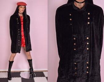 90s Black Crushed Velvet Jacket/ US 22/ 1990s/ Long Sleeve