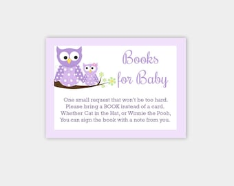 Purple Owls Girl Baby Shower Books for Baby Bring a Book Instead of Card insert Enclosure INSTANT DOWNLOAD bs-017
