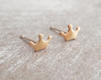 Tiny crown earrings, gold crown earring studs, brass crown earrings with sterling silver posts, gold crown earring studs