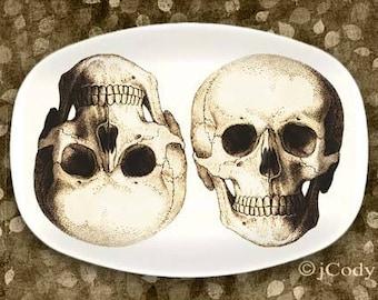 Skulls platter in antique brown or black and white