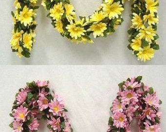 5 Foot Long Daisy Chain Garland - Available in 4 Color Choices - Wedding, Shower, Party, Spring Decor