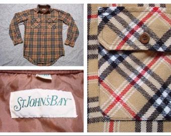 Men's Vintage Retro St Johns Bay Shirt Tan Red Black White Flannel Plaid Buttonup Long Sleeve Medium Plaid
