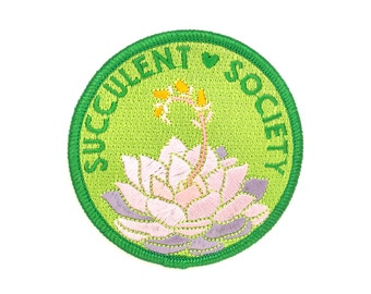 Succulent Society Patch (succulent patch iron on patch flair cute cactus backpack patch cacti plant gift garden embroidered embroidery)