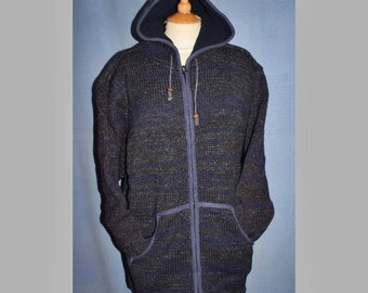 Handcrafted Festival Hippy Wool Fleece Lined Jacket from Nepal - blue charcoal grey