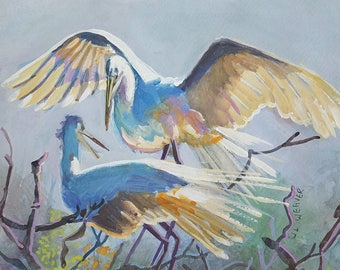 Two birds original watercolor painting