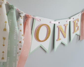 pink, mint and gold first birthday banner * ONE banner * first birthday banner * high chair banner * pink and green mint