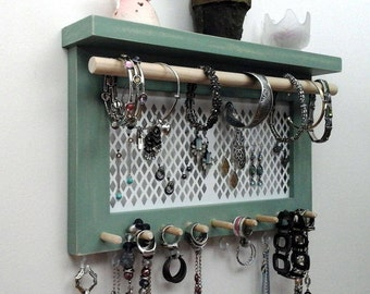 Jewelry Organizer Wall Necklace Holder, Earring Holder, Bracelet & Ring Holder. Wall Mount Jewelry Organizer Display Rack. Gifts for Her.
