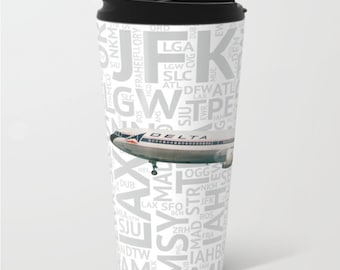 Delta Airlines Lockheed L-1011 with Airport Codes - Travel Mug