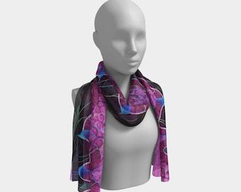 Skin Keratinocyte Scarf Wearable Art - Pink Putple Blue Black