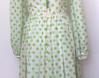 Vintage Jean Allen green polka dot cotton dress size 10