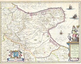 Italy, Capitanata Foggia; Antique Map by Blaeu, 1630
