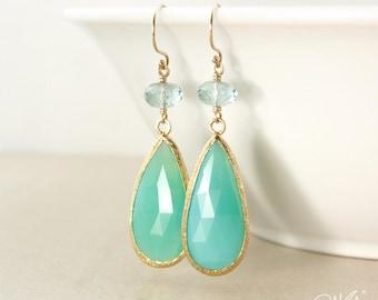 Or Quartz Aqua & Chrysoprase vert en forme de larme boucles d'oreilles - Boucles d'oreilles vertes - 14Kt GF à la menthe