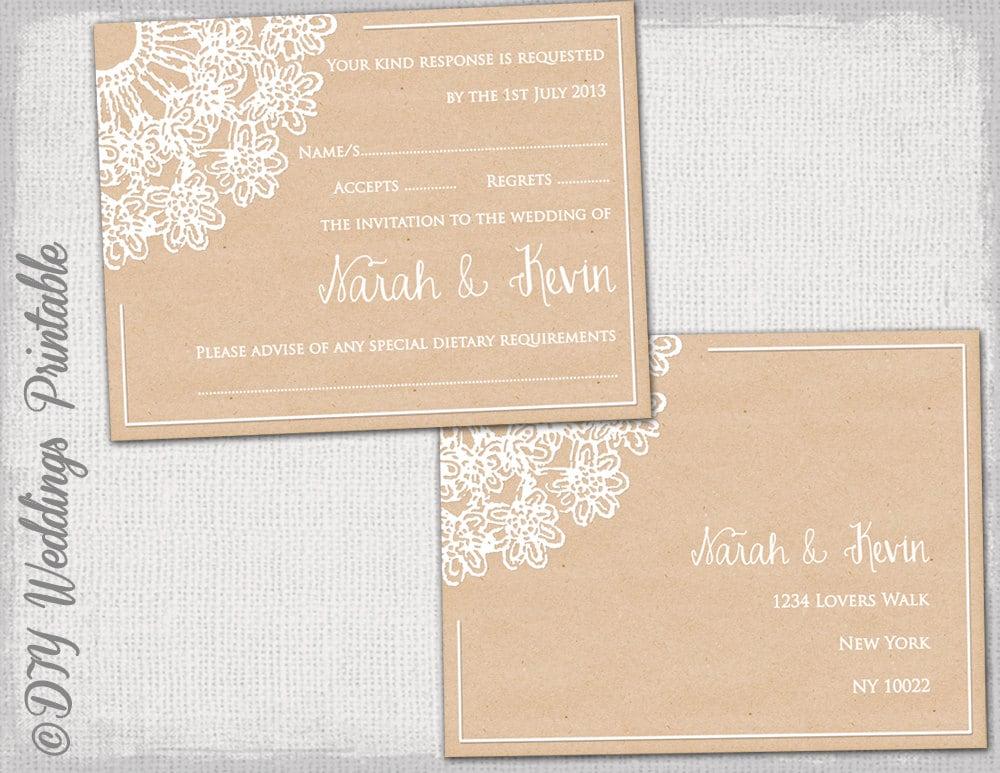 Rustic Wedding RSVP Postcard Template DIY Lace Doily - Rsvp postcard template