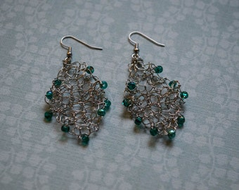 Turquoise Beaded Wire Earrings, Handknit