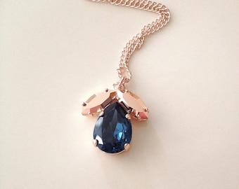 Swarovski Navy Blue Rose Gold Crystal leaf pendant necklace, long necklace, crystal leaf pendant, layering necklace, bridal, bridesmaid gift