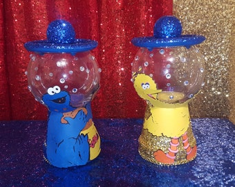 Sesame Street themed candy jar,gum jar ,cookie jar ,party Decorations, table decor,treat table