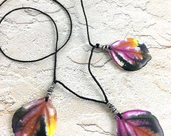 Polymer clay leaf necklace amazing lightweight colorful pendants