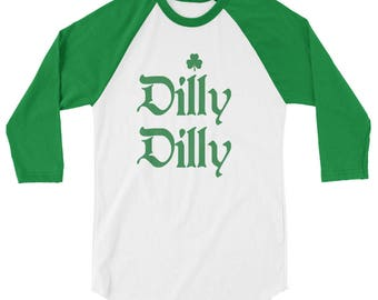 Mens Dilly Dilly St Patricks Day Irish Shamrock Green And White Raglan Shirt