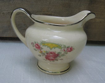 "Camwood Ivory Floral Creamer / Vintage Dinnerware / 3 5/8"" Creamer / Made in USA / Pink Floral Creamer / Small Pitcher / Serving Piece"