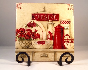 Shabby Cuisine Red Trivet (hot pad)