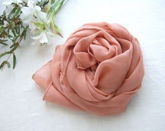 Coral silk scarf, botanical natural dyeing, blush pink silk crepe wrap, ethical fashion, original gift for her, mothers day, made in France