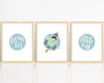 Dream Big Little One | BOYS | Vintage Space | SET OF 3 Prints | Rocket Ship | Nursery Decor | Children's Room Print