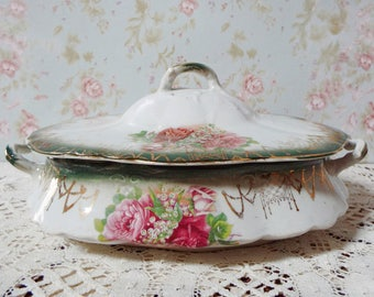 Antique China Covered Serving Dish - Roses and Lilies of the Valley - Shabby Chic Serving Dish - 1900s Victorian