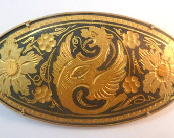 Vintage Damascene Brooch, Heraldic Style, Gothic Winged Beast Brooch.