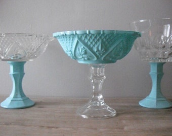 3 upcycled AQUA blue Wedding candy buffet dishes .. Pedestal candy bar dishes