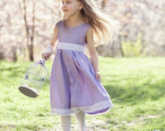 Lavender flower girl dress - Lilac flower girl dress - Ultra violet wedding - Easter girl dress - Special occasion toddler girl dress