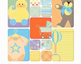 Growing Pains Baby Boy Digital & PrIntable Pocket Scrapbook Cards Set 1