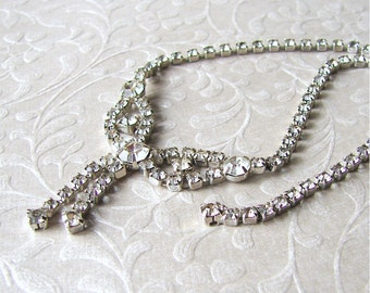 14 inch 1950s Rhinestone Bow Choker Bib Necklace Waterfall Chain Fringe Vintage Costume Jewelry Wedding Bridal Formal Ballroom Pageant Prom